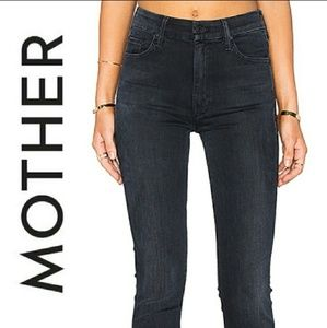 MOTHER LOOKER ANKLE FRAY skinny jeans black 26